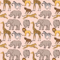 Seamless pattern with african animals various Stock Photography