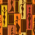 Seamless pattern of african women colorful abstract geometric beautiful with vases Stock Photography