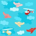 Seamless pattern with airplanes and clouds cartoon over sky Royalty Free Stock Photography