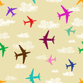 Seamless pattern of airplanes flying in the sky colorful Royalty Free Stock Photo