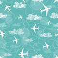 Seamless pattern of airplanes flying in the sky white Stock Image