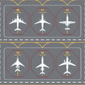 Seamless pattern with airplanes on the terminal apron