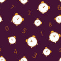 Seamless pattern with alarm clock and number on brown background. Royalty Free Stock Photo
