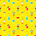 Seamless pattern with alcohol cocktails. Flat cartoon style tile Royalty Free Stock Photo