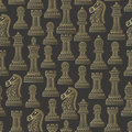 Seamless pattern with all chess pieces. Golden and black. Beautiful lace ornament in Indian style