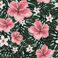 Seamless pattern with amazing hawaiian flowers.