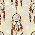 Seamless pattern of american indians dreamcatcher vintage Royalty Free Stock Images