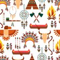 Seamless Pattern American Tribal Native Symbols Royalty Free Stock Photo