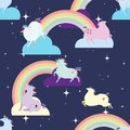 Seamless pattern with amusing unicorns and rainbows. Vector illustration