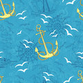 Seamless pattern with anchor, compass and ships