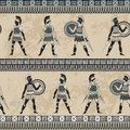Seamless pattern with ancient greek fighting people and ornament. Traditional ethnic background.