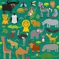 Seamless pattern Animal Africa parrot Hyena Rhinoceros Zebra Hippopotamus Crocodile Turtle Elephant snake camel tsetse ostrich lem Royalty Free Stock Photo