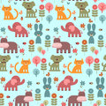 Seamless pattern with animals cute Stock Photos