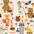 Seamless pattern with animals of forest on beige background