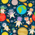 Seamless pattern with animals in space