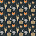 Seamless pattern with animals and traces