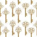 Seamless pattern with antique keys. Vector Illustration