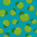 Seamless Pattern , Apple on Azure Background Royalty Free Stock Photo