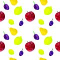 Seamless pattern with apple, lemon, pear, plum with blots and stains on a white background. Watercolor art. Freehand creative