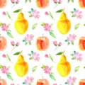 Seamless pattern with apple,pear and flower.Food picture.