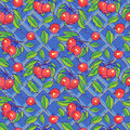 Seamless pattern with apples, branches and leafs Royalty Free Stock Image