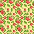 Seamless pattern with apples, branches and leafs Royalty Free Stock Photo