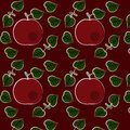 Seamless pattern with apples and leaves Royalty Free Stock Photo