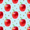 Seamless pattern with apples and seeds.Food picture.