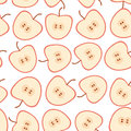 Seamless pattern with apples on the white background. Royalty Free Stock Photo