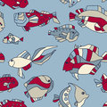 Seamless pattern aquarium fish wave Royalty Free Stock Photography