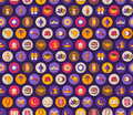 Seamless pattern with arabic flat icons in circles