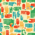 Seamless pattern with arms vector texture in retro style Royalty Free Stock Photos