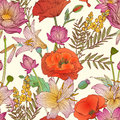 Seamless pattern - assorted flowers