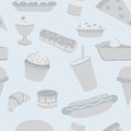 Seamless pattern assorted junk food including fast foods desserts unhealthy grays blues Stock Image