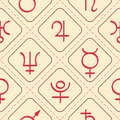 Seamless pattern with astrology symbols planets Royalty Free Stock Photo
