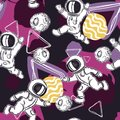 Seamless pattern with astronauts, geometric figures and planets. Outer space