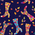 Seamless pattern with autumn boots Royalty Free Stock Image