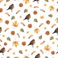 Seamless pattern with autumn leaves and little Robin bird.Colorful illustration.Watercolor handpainted texture on white background