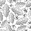 Seamless pattern with autumn leaves. Oak leaf and acorn d Royalty Free Stock Photo