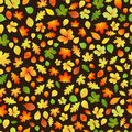 Seamless pattern of autumn leaves yellow orange and green on black background Royalty Free Stock Photo