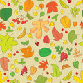 Seamless pattern with autumn leaves in yellow orange red and green color Royalty Free Stock Images