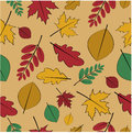 Seamless pattern from autumn leaves yellow and red on an orange background Stock Images