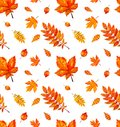 Seamless pattern with autumn orange watercolor leaves.