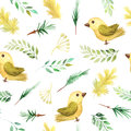 Seamless pattern with autumn plants and birds