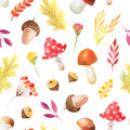 Seamless pattern with autumn plants