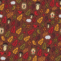 Seamless pattern in autumn style vector doodle background Royalty Free Stock Photography