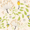 Seamless pattern of autumnal ferns and seed heads vector illustration Royalty Free Stock Photos