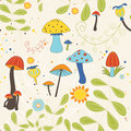 Seamless pattern of autumnal mushrooms and toadstools vector illustration showing toadstool ferns Stock Photography