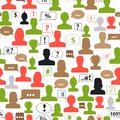 Seamless pattern of avatars and speech bubbles