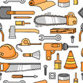 Seamless pattern with ax, helmet, screwdriver, hammer, ruler and others.